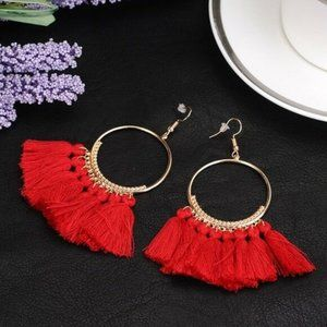 Gold Red Round Drop Beaded Tassel Boho Earrings